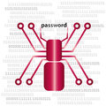 Digital Spine and Password, internet and security logo