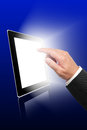 Digital tablet and business hand pointing Royalty Free Stock Photo