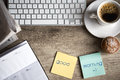 Digital tablet computer with sticky note paper and cup of coffee on old wooden desk simple workspace or break in morning Royalty Free Stock Images