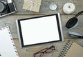 Digital tablet with flat lay objects Royalty Free Stock Photo