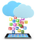 Digital tablet pc with app icons Stock Images