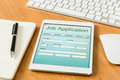 Digital tablet pc showing job application form Royalty Free Stock Photo