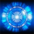 Digital technology concept, abstract background. Internet, interface. Dark blue circle technology graphic design background.