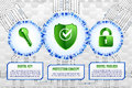 Digital technology concept of background with shield, key and pa