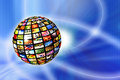 Digital television multiscreen sphere and iptv concept Stock Photos