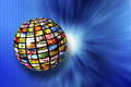 Digital television multiscreen sphere and iptv concept Stock Image