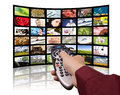 Digital television, remote control TV. Royalty Free Stock Photo
