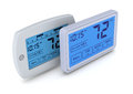 Digital thermostat top view of two programmable thermostats d render Stock Photography
