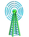 Digital transmitter sends signals from high tower powerful for tv mobile and multimedia broadcast information Royalty Free Stock Images