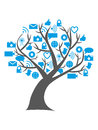 Digital tree social media technology represented tree showing development growth technology Royalty Free Stock Photography