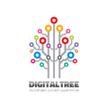 Digital tree - vector logo sign template concept illustration in flat style. Computer network technology sign. Electronic design.