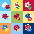 Digital vector blue flowers set icons Royalty Free Stock Photo