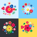 Digital vector blue flowers set Royalty Free Stock Photo