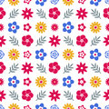Digital vector blue red flowers set Royalty Free Stock Photo