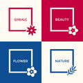 Digital vector blue red flowers Royalty Free Stock Photo