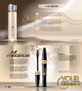 Digital vector golden glass bottle lotion
