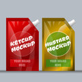 Digital vector red and brown ketchup and mustard