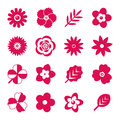 Digital vector red flowers set Royalty Free Stock Photo