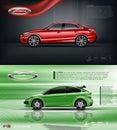 Digital vector red model sedan car