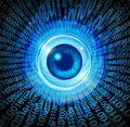 Digital vision high technology concept as an eye with binary code being communicated through the internet media as a symbol of Royalty Free Stock Photo