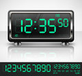Digital watch black with green dial on white vector illustration Stock Photos