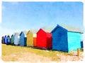 Digital watercolor of beach huts