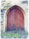 Digital watercolor of an old wooden cathedral door Royalty Free Stock Photo
