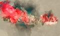 Digital watercolor painting of Love Antalya symbol Royalty Free Stock Photo