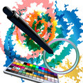Digital watercolors illustration with tablet grip pen above sketch and illustrator swatches panel Royalty Free Stock Photos