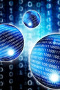 Digital world blue spheres with binary digits Royalty Free Stock Photo