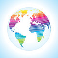 Digital world map design with stripe pattern. Stock Photo