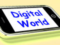 Digital World On Phone Means Connection Internet Web Royalty Free Stock Photo