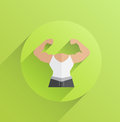 Digitally generated body with flexing biceps on green background Stock Images