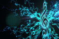 Digitally generated music background in blue Royalty Free Stock Photos
