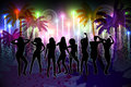 Digitally generated nightlife background with palm trees and people dancing Stock Photos