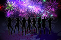 Digitally generated nightlife background with people dancing and fireworks Royalty Free Stock Photography