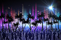 Digitally generated nightlife background with people dancing and palm trees Stock Image
