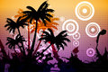 Digitally generated palm tree background in black on purple and orange Stock Photo