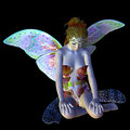 Digitally rendered image of a beautiful flower fairy sitting on black background Royalty Free Stock Photos