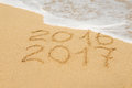 Digits  2016 and 2017 on the sand Royalty Free Stock Photo