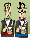 Dignified gentlemen cartoon illustration of two with cup of tea Stock Photo