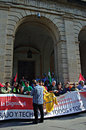 The dignity march a protest these is urban life demonstration place sevilla spain date event urban life Royalty Free Stock Photos