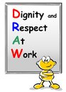 Dignity and respect at work draw workplace culture acronym color markers handwriting on whiteboard Royalty Free Stock Photos