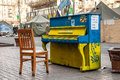 Dignity revolution euromaidan kiev ukraine kyiv march piano painted in colors of the ukrainian flag on hreshchatyk str Stock Images