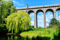 Digswell viaduct in the uk welwyn with train motion it's located between welwyn garden city and Royalty Free Stock Photo