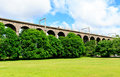 Digswell viaduct in the uk welwyn with train motion it's located between welwyn garden city and Stock Images