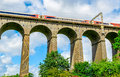 Digswell viaduct in the uk welwyn with train motion it's located between welwyn garden city and Stock Photography