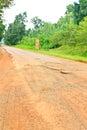 Dilapidated asphalt road Stock Photo