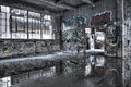 Dilapidated building interior old ruined with graffiti Stock Photography