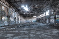 Dilapidated building interior old ruined with graffiti Royalty Free Stock Images